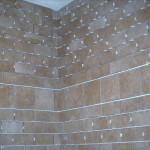 Tile shower in progress